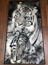 Rugs Approx 4x2ft 60cmx110cm Woven Top Quality Tiger Rugs/Mats Black/Silver new